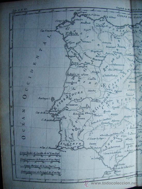 Arte: 1780-MAPA DE ESPAÑA Y PORTUGAL. BONNE - Foto 2 - 38903628