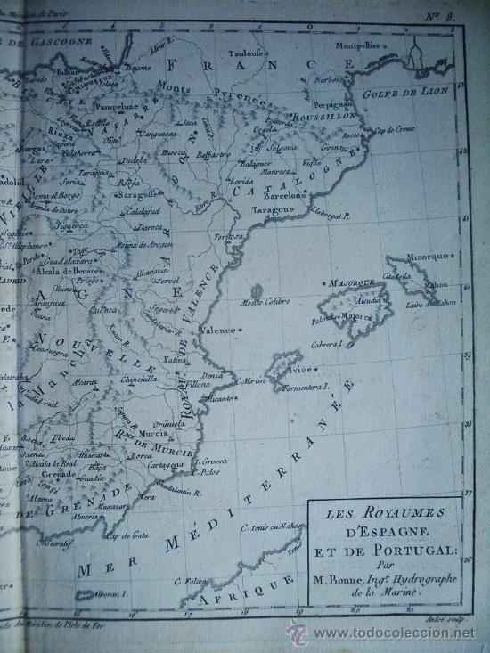 Arte: 1780-MAPA DE ESPAÑA Y PORTUGAL. BONNE - Foto 3 - 38903628