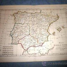Arte: MAPPA HISPANIAE ANTIQUAE - ANTIGUO MAPA DE ESPAÑA SIGLO XVIII - AÑO 1780.. Lote 39149897