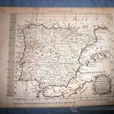 Arte: MAP OF SPAIN & PORTUGAL ON A SPHEROIDICAL PROJECTION - ANTIGUO MAPA DE ESPAÑA AÑO 1761. . Lote 39150085