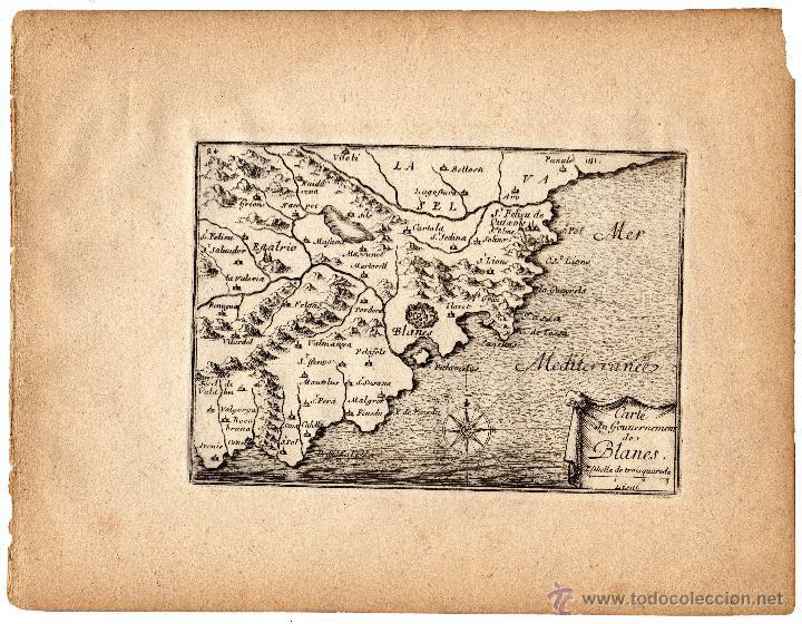 MAPA DEL GOBIERNO DE BLANES, GERONA (1680) \ SÉBASTIEN DE PONTAULT DE BEAULIEU \\ MUY RARO (Arte - Cartografía Antigua (hasta S. XIX))