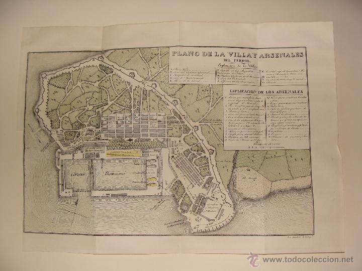 PRECIOSO PLANO DEL FERROL 1828. ACUARELADO. . 31X42 CM. LITOGRAFIA PRIMITIVA (Arte - Cartografía Antigua (hasta S. XIX))