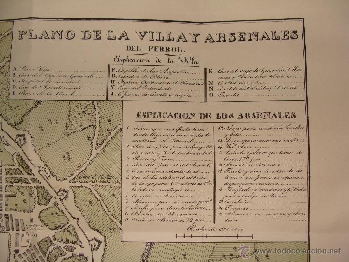 Arte: PRECIOSO PLANO DEL FERROL 1828. ACUARELADO. . 31X42 CM. LITOGRAFIA PRIMITIVA - Foto 3 - 40092207