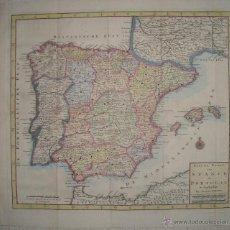 Arte: MAPA DE ESPAÑA Y PORTUGAL. AÑO 1759. ISAAK TIRION. ILUMINADO A MANO. GRANDES DIMENSIONES. Lote 40348619