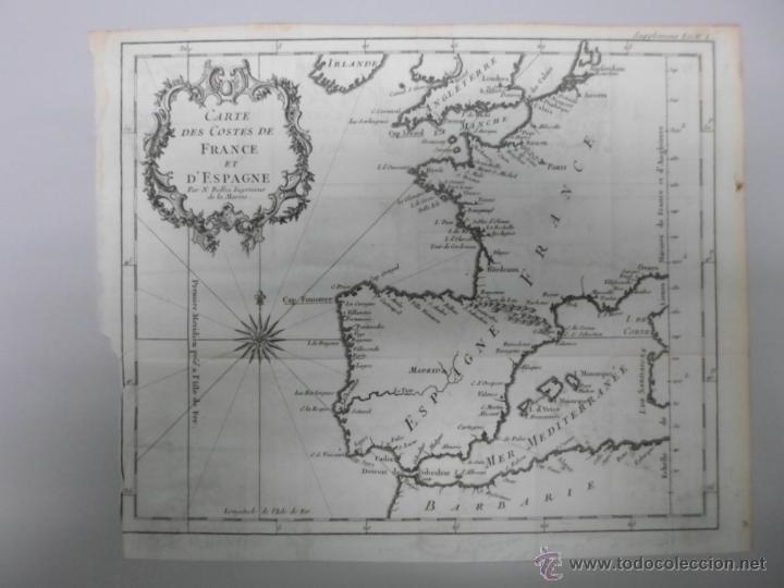 MAPA DE LAS COSTAS DE ESPAÑA Y FRANCIA, 1758, J.N.BELLIN (Arte - Cartografía Antigua (hasta S. XIX))