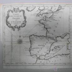 Arte: MAPA DE LAS COSTAS DE ESPAÑA Y FRANCIA, 1758, J.N.BELLIN. Lote 40436650