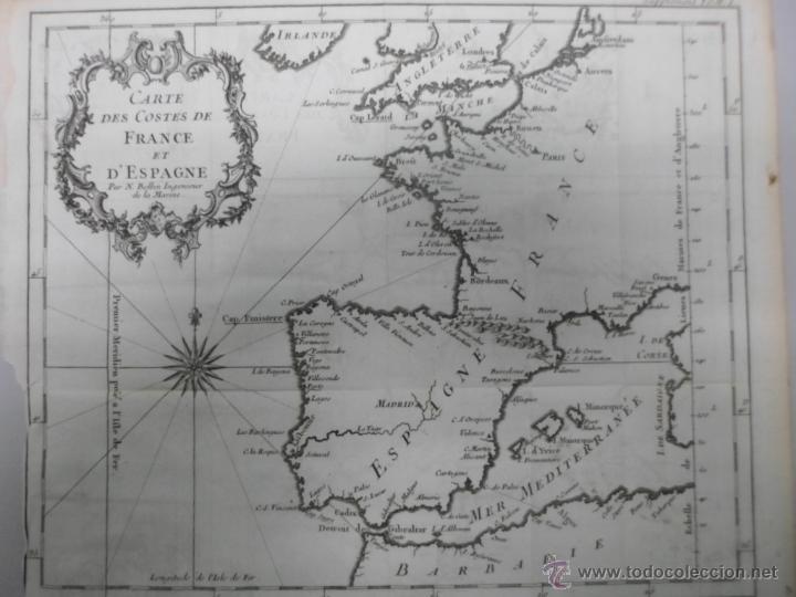 Arte: Mapa de las costas de España y Francia, 1758, J.N.Bellin - Foto 2 - 40436650