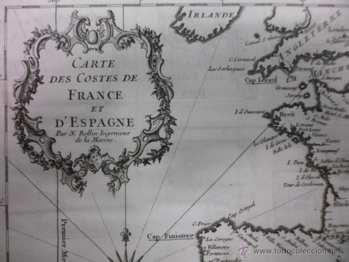 Arte: Mapa de las costas de España y Francia, 1758, J.N.Bellin - Foto 3 - 40436650