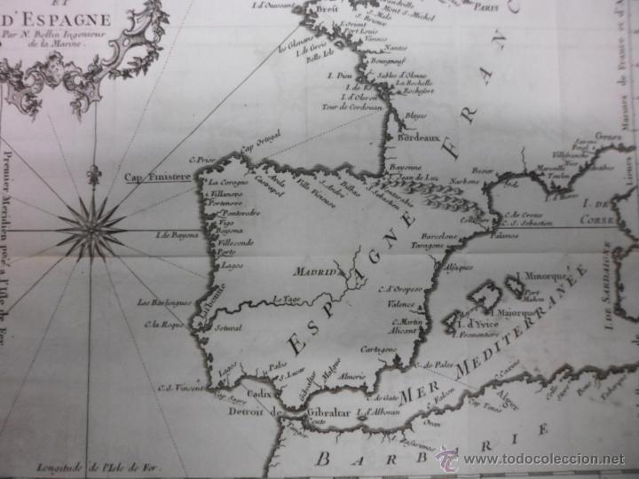 Arte: Mapa de las costas de España y Francia, 1758, J.N.Bellin - Foto 4 - 40436650
