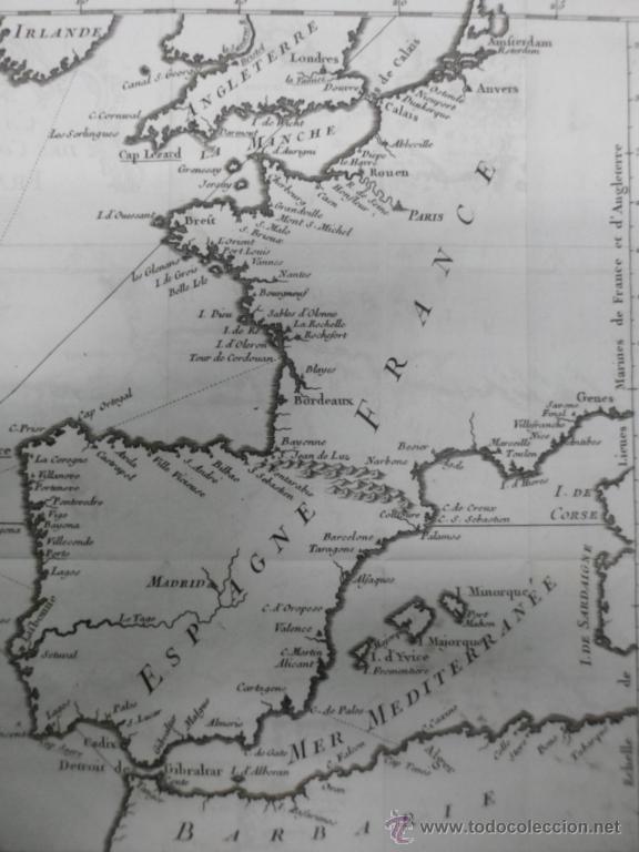 Arte: Mapa de las costas de España y Francia, 1758, J.N.Bellin - Foto 5 - 40436650