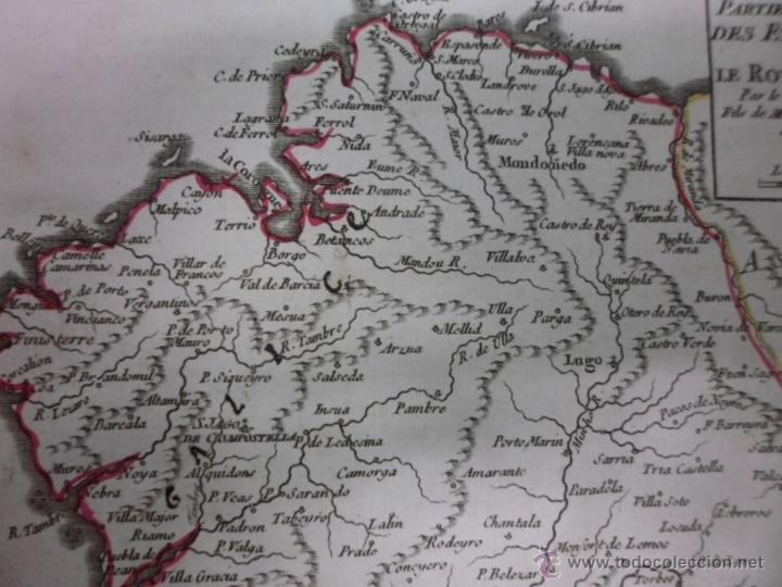 Arte: Mapa de Galicia (España), 1749, Robert Vaugondy - Foto 4 - 40493842