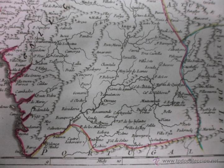 Arte: Mapa de Galicia (España), 1749, Robert Vaugondy - Foto 5 - 40493842