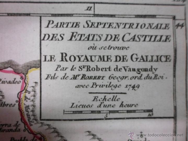 Arte: Mapa de Galicia (España), 1749, Robert Vaugondy - Foto 6 - 40493842