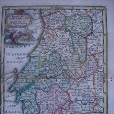 Arte: MARAVILLOSO MAPA PORTUGAL, ALGARVE, EXTREMADURA, ANDALUCÍA ORIGINAL,WEIGEL, 1720.IMPECABLE COLOREADO. Lote 29039820