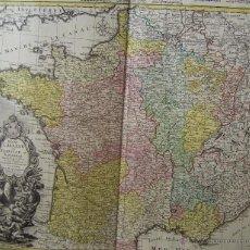 Arte: MAPA DE FRANCIA 1741 * HEREDEROS DE HOMMAN * GRAN TAMAÑO DE 62 CM X 54 CM. Lote 42885496