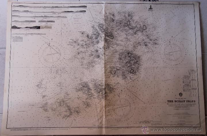 INTERESANTE MAPA ANTIGUO DE LAS ISLAS SCILLY NUMERADO CON MARCAS , SELLOS, CONNOTACIONES (Arte - Cartografía Antigua (hasta S. XIX))
