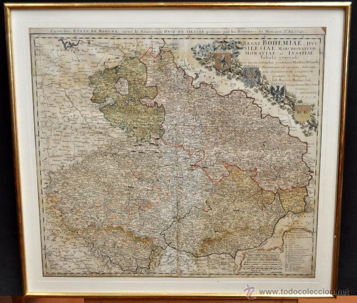 ANTIGUO MAPA-CARTA COLOREADA DEL REGNO DE BOHEMIA DEL AÑO 1748. BUEN ESTADO DE CONSERVACIÓN (Arte - Cartografía Antigua (hasta S. XIX))