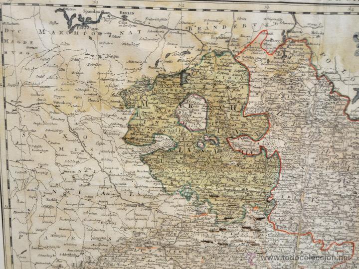 Arte: ANTIGUO MAPA-CARTA COLOREADA DEL REGNO DE BOHEMIA DEL AÑO 1748. BUEN ESTADO DE CONSERVACIÓN - Foto 2 - 43963255