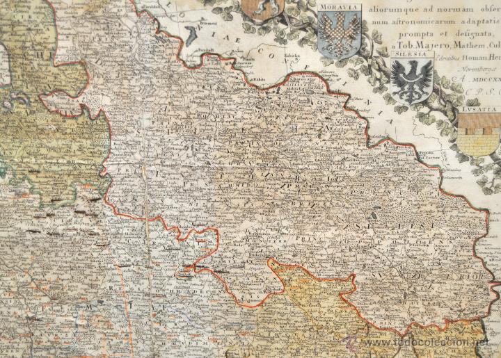 Arte: ANTIGUO MAPA-CARTA COLOREADA DEL REGNO DE BOHEMIA DEL AÑO 1748. BUEN ESTADO DE CONSERVACIÓN - Foto 3 - 43963255