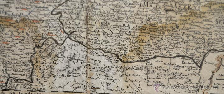 Arte: ANTIGUO MAPA-CARTA COLOREADA DEL REGNO DE BOHEMIA DEL AÑO 1748. BUEN ESTADO DE CONSERVACIÓN - Foto 4 - 43963255