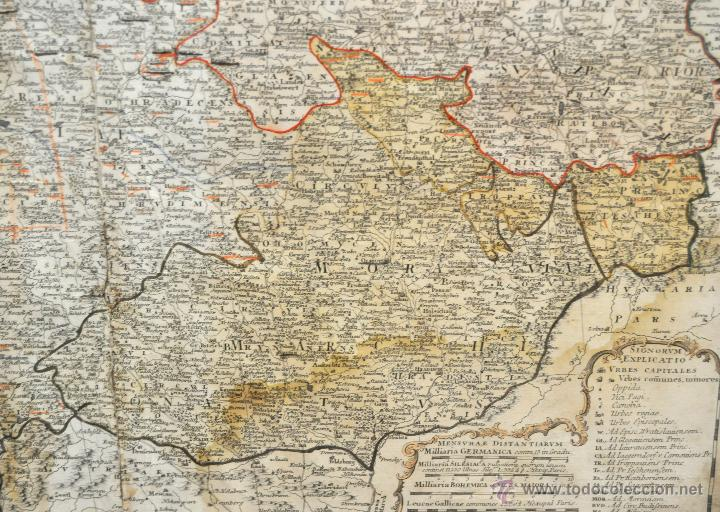 Arte: ANTIGUO MAPA-CARTA COLOREADA DEL REGNO DE BOHEMIA DEL AÑO 1748. BUEN ESTADO DE CONSERVACIÓN - Foto 6 - 43963255