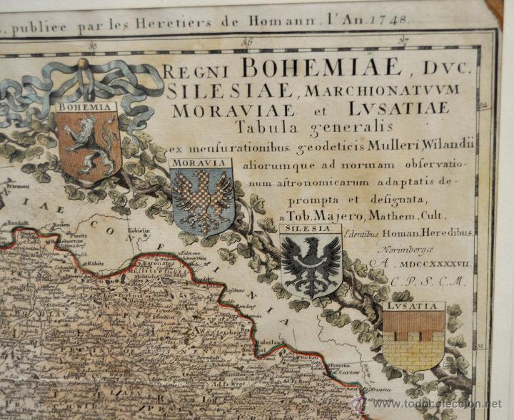 Arte: ANTIGUO MAPA-CARTA COLOREADA DEL REGNO DE BOHEMIA DEL AÑO 1748. BUEN ESTADO DE CONSERVACIÓN - Foto 8 - 43963255