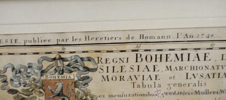 Arte: ANTIGUO MAPA-CARTA COLOREADA DEL REGNO DE BOHEMIA DEL AÑO 1748. BUEN ESTADO DE CONSERVACIÓN - Foto 9 - 43963255