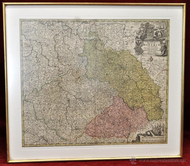 GEOTG MATTHÄUS SEUTTER (1678-1757) MAPA GEOGRÁFICO COLOREADO DEL REGNO DE BOHEMIA (Arte - Cartografía Antigua (hasta S. XIX))