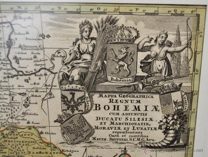Arte: GEOTG MATTHÄUS SEUTTER (1678-1757) MAPA GEOGRÁFICO COLOREADO DEL REGNO DE BOHEMIA - Foto 2 - 43963452