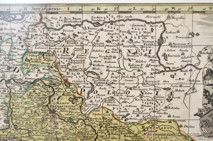 Arte: GEOTG MATTHÄUS SEUTTER (1678-1757) MAPA GEOGRÁFICO COLOREADO DEL REGNO DE BOHEMIA - Foto 3 - 43963452