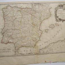 Arte: CIRCA 1783 LES ROYAUMES D'ESPAGNE ET DE PORTUGAL MAPA DE ESPAÑA DE JEAN JANVIER 52 CM X 36 CM . Lote 44326258