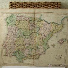 Arte: CIRCA 1815 ESPAÑA Y PORTUGAL MAPA COLOREADO IMPRESO EN ESCOCIA 61 CM X 49 CM . Lote 44328247