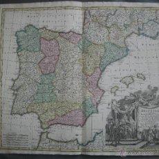 Arte: MAPA DE ESPAÑA Y PORTUGAL, 1730. SEUTTER Y DE L'ISLE. Lote 44893454