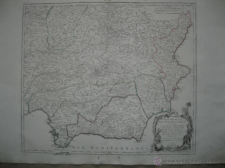 GRAN MAPA DEL SUDESTE DE ESPAÑA.1775 VAUGONDY/SANTINI (Arte - Cartografía Antigua (hasta S. XIX))