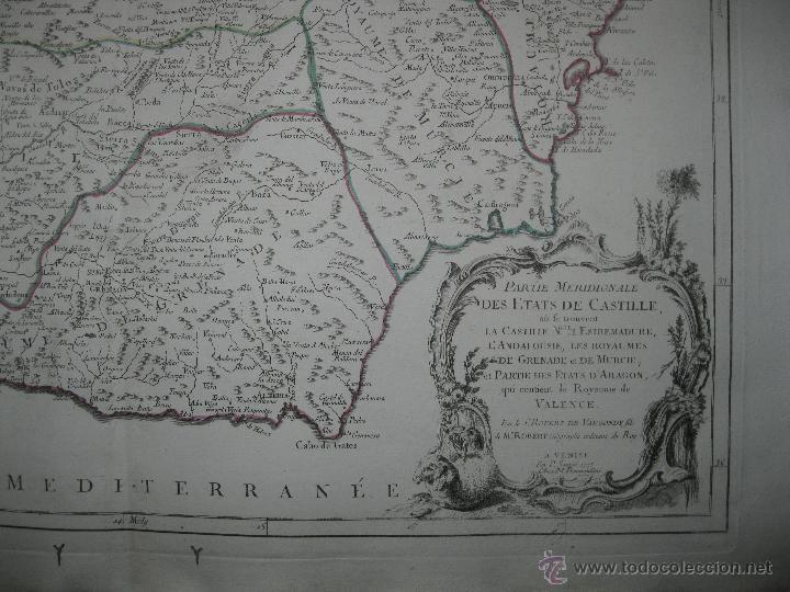 Arte: Gran mapa del sudeste de España.1775 Vaugondy/Santini - Foto 4 - 44977175