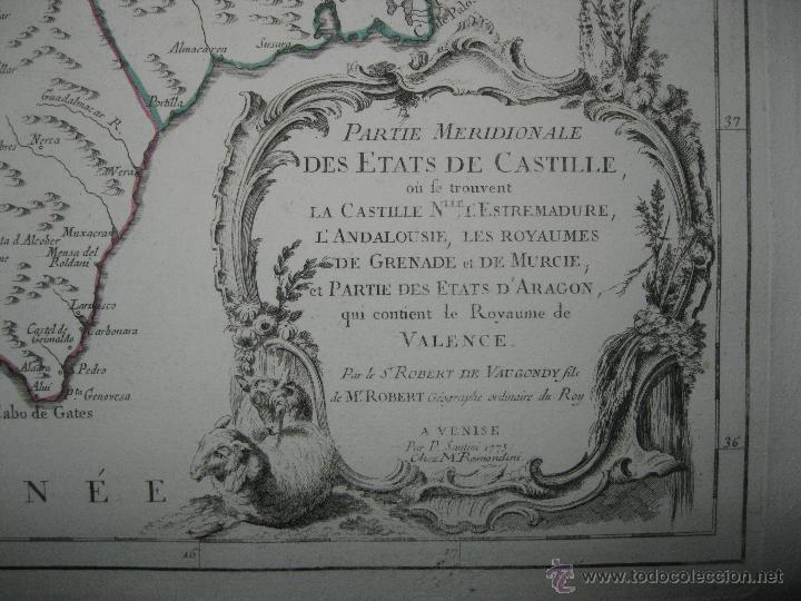 Arte: Gran mapa del sudeste de España.1775 Vaugondy/Santini - Foto 5 - 44977175
