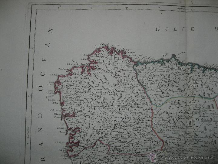 Arte: Gran mapa del norte de España.1775.Vaugondy (Santini/Remondini) - Foto 2 - 44977193