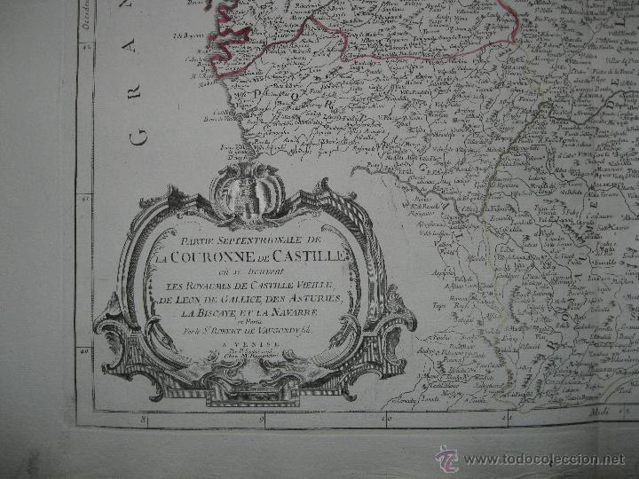Arte: Gran mapa del norte de España.1775.Vaugondy (Santini/Remondini) - Foto 4 - 44977193