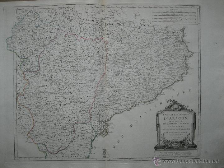 GRAN MAPA DE ARAGÓN, NAVARRA Y CATALUÑA (ESPAÑA)1778. VAUGONDY/SANTINI (Arte - Cartografía Antigua (hasta S. XIX))
