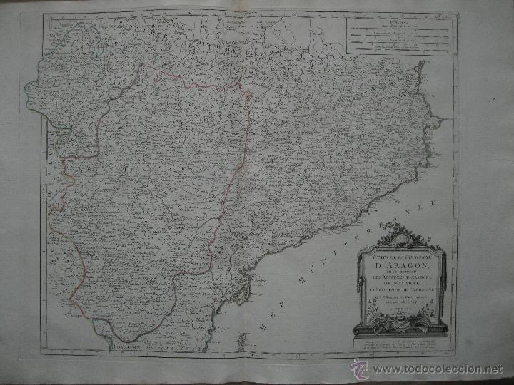 Arte: Gran mapa de Aragón, Navarra y Cataluña (España)1778. Vaugondy/Santini - Foto 2 - 45028382
