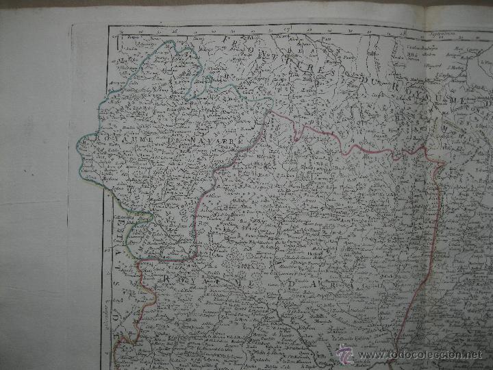 Arte: Gran mapa de Aragón, Navarra y Cataluña (España)1778. Vaugondy/Santini - Foto 3 - 45028382
