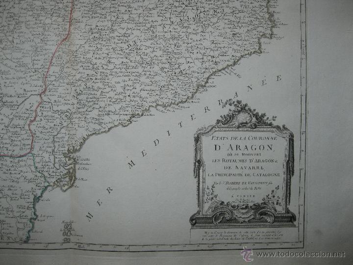 Arte: Gran mapa de Aragón, Navarra y Cataluña (España)1778. Vaugondy/Santini - Foto 6 - 45028382