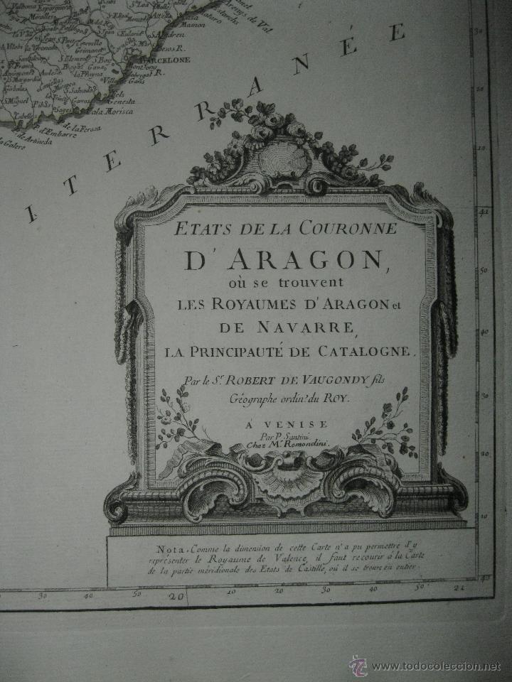 Arte: Gran mapa de Aragón, Navarra y Cataluña (España)1778. Vaugondy/Santini - Foto 8 - 45028382