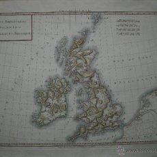 Arte: MAPA GENERAL FÍSICO DEL REINO UNIDO. 1797. MENTELLE. Lote 45033731