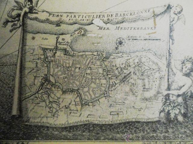 Arte: MAPA ANTIGUO COLOREADO: PLAN DU SIÉGE de la Ville de BARCELONE, 1698 - Foto 4 - 45231355