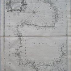 Arte: MAPA DEL LITORAL DE ESPAÑA Y PORTUGAL,1750.SEALE/TINDAL. Lote 45343018