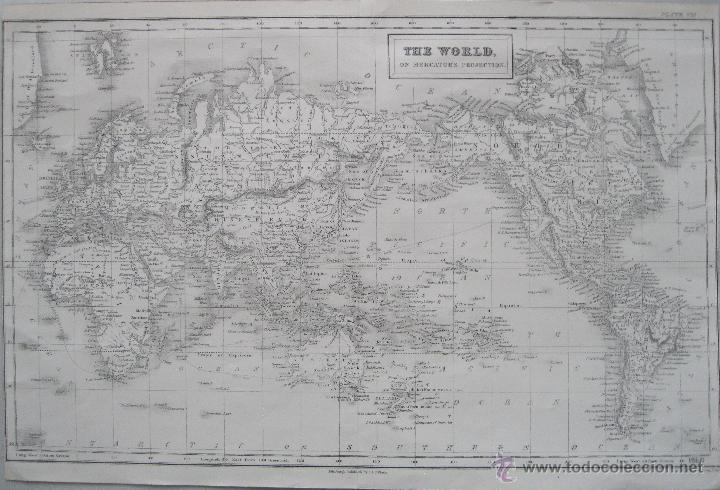 MAPA DEL MUNDO,1860.ADAM BLACK (Arte - Cartografía Antigua (hasta S. XIX))