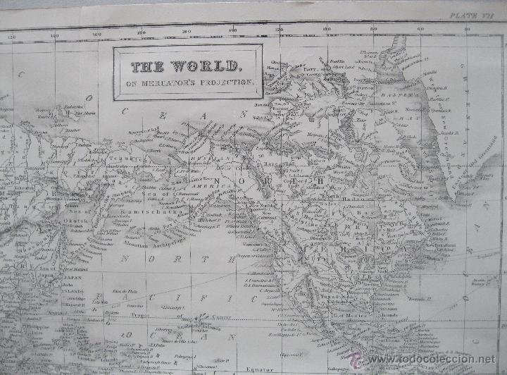 Arte: Mapa del mundo,1860.Adam Black - Foto 3 - 211718426