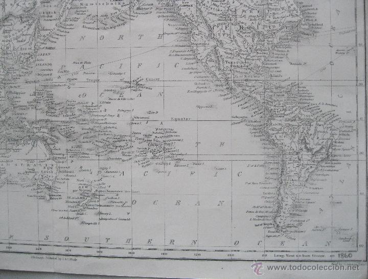 Arte: Mapa del mundo,1860.Adam Black - Foto 5 - 211718426