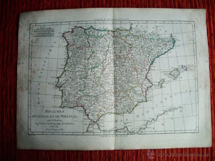1780-MAPA DE ESPAÑA Y PORTUGAL. M. BONNE. ORIGINAL (Arte - Cartografía Antigua (hasta S. XIX))